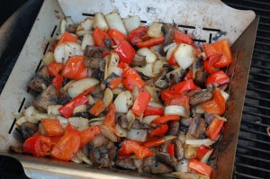 Grilled peppers onions and mushrooms
