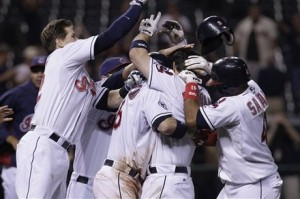 Indians celebrate 16th inning win on 8/31/11.